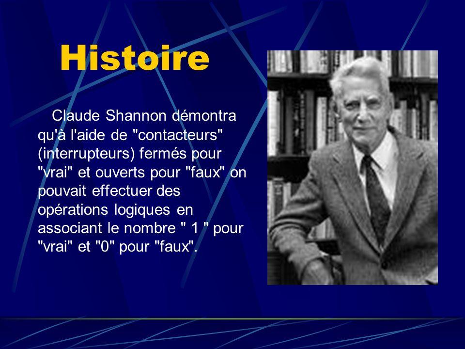 Histoire Claude Shannon démontra qu'à l'aide de