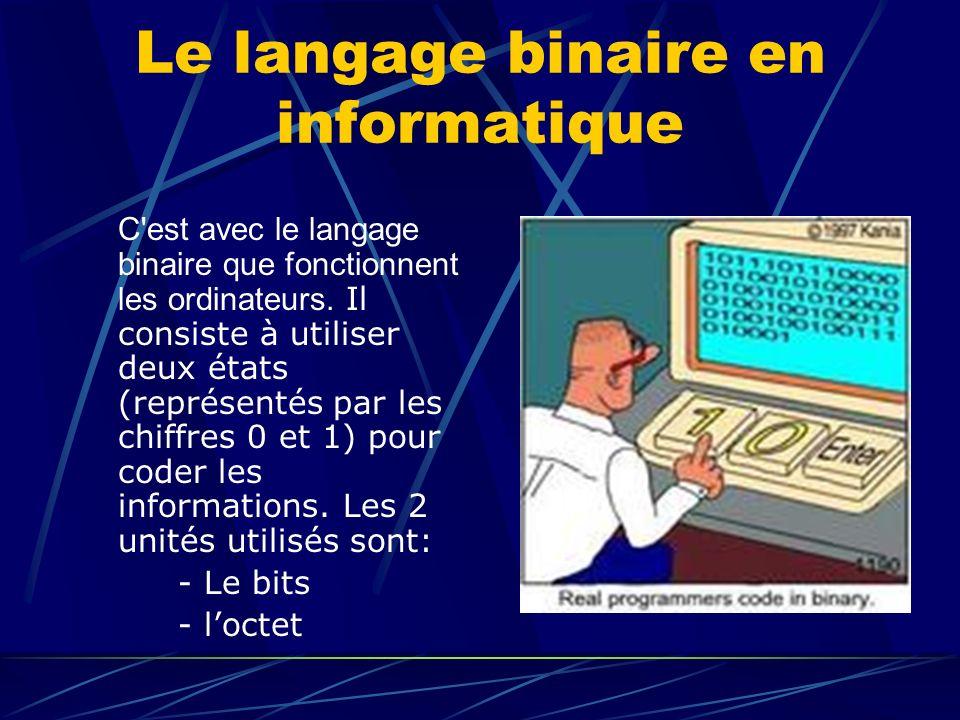 Le langage binaire en informatique C'est avec le langage binaire que fonctionnent les ordinateurs. Il consiste à utiliser deux états (représentés par