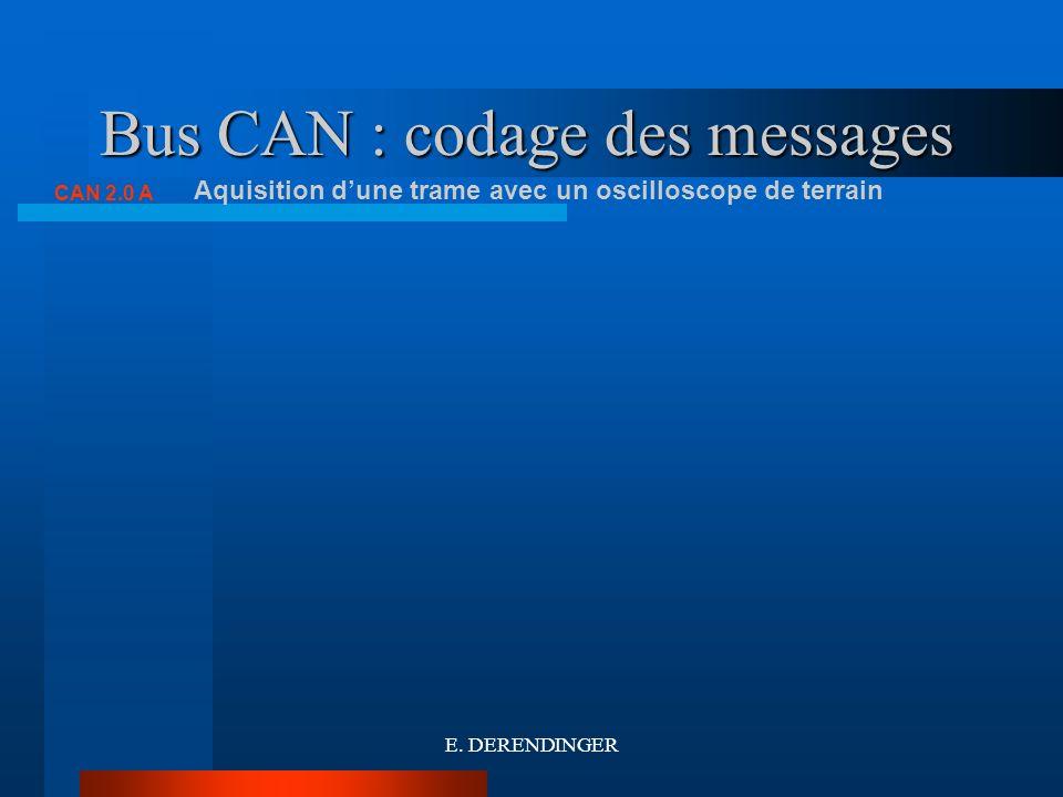 Bus CAN : codage des messages CAN 2.0 A Aquisition dune trame avec un oscilloscope de terrain E. DERENDINGER