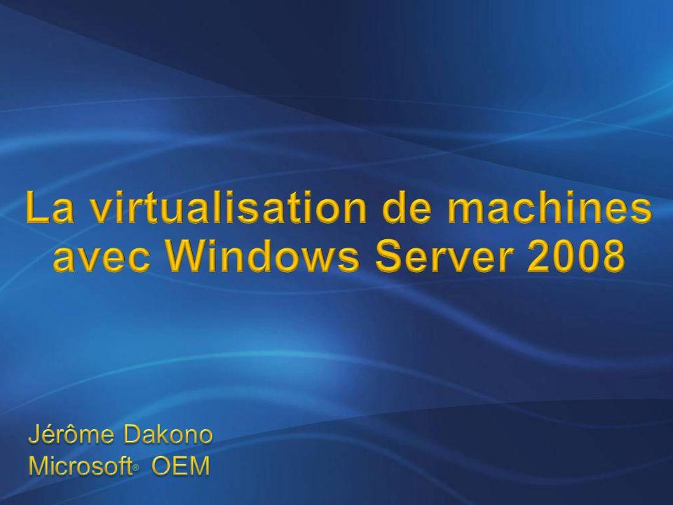 Windows Server 2008 en OEM Editions x86 et x64 4 GB (32-bit) et 32GB (x64) RAM Support pour 4 processeurs Editions x86 et x64 4 GB (32-bit) et 32GB (x64) RAM Support pour 4 processeurs Inclut une 1 instance virtuelle Editions x86 et x64 64 GB (32-bit) et 2 TB (x64) RAM Support pour 8 processeurs Inclut 4 instances virtuelles Editions x86 et x64 64 GB (32-bit) et 2 TB (x64) RAM Support pour 64 processeurs Instances virtuelles illimitées Pour Itanium Support pour 64 processeurs 2 TB Instances virtuelles illimitées OEMSBC N N N