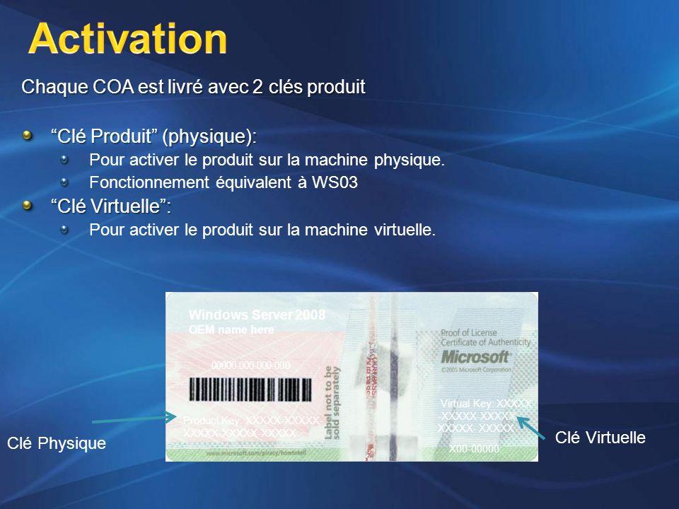 Chaque COA est livré avec 2 clés produit Clé Produit (physique): Pour activer le produit sur la machine physique. Fonctionnement équivalent à WS03 Clé
