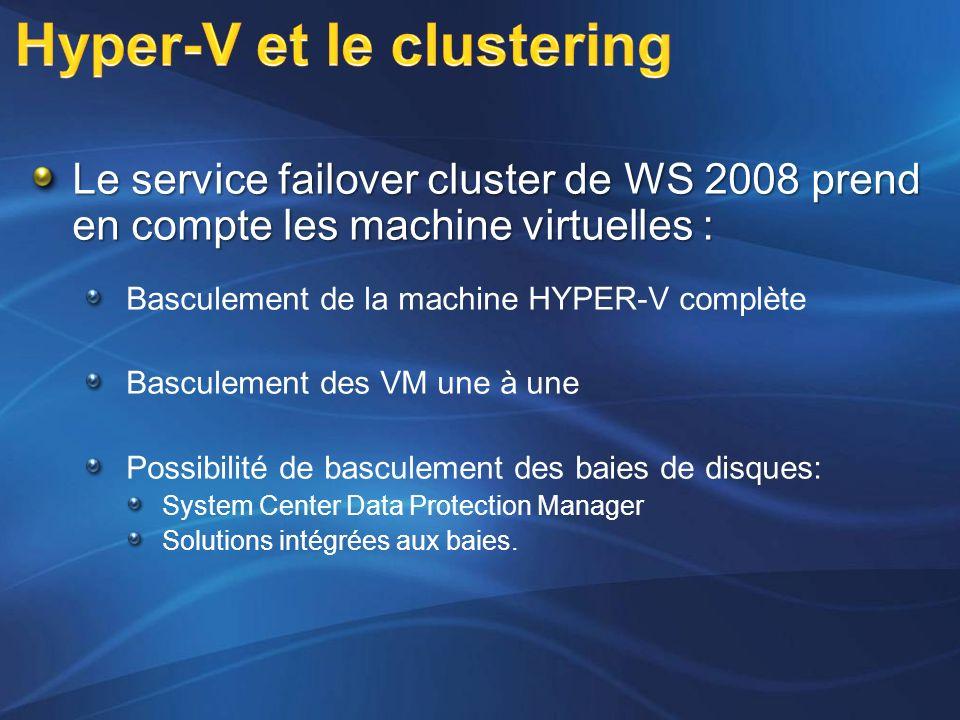 Le service failover cluster de WS 2008 prend en compte les machine virtuelles : Basculement de la machine HYPER-V complète Basculement des VM une à un