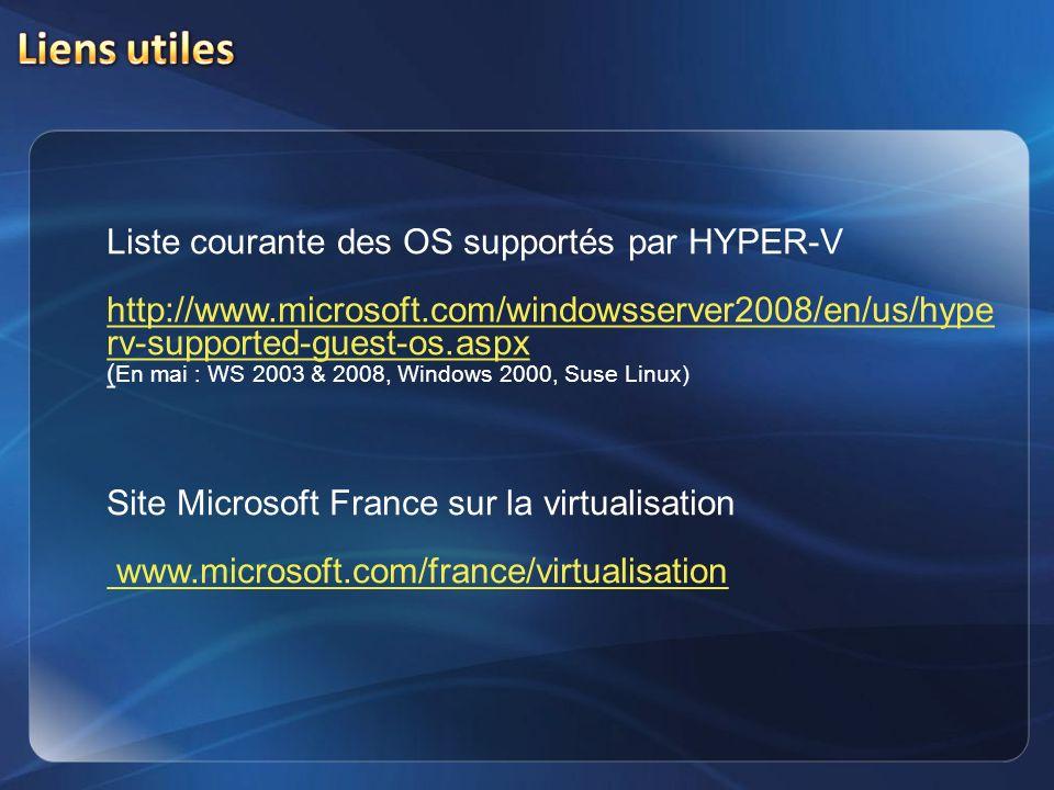 Liste courante des OS supportés par HYPER-V http://www.microsoft.com/windowsserver2008/en/us/hype rv-supported-guest-os.aspx ( En mai : WS 2003 & 2008