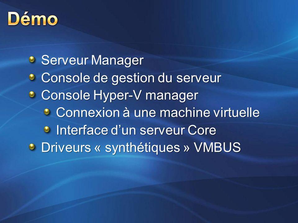Serveur Manager Console de gestion du serveur Console Hyper-V manager Connexion à une machine virtuelle Interface dun serveur Core Driveurs « synthéti