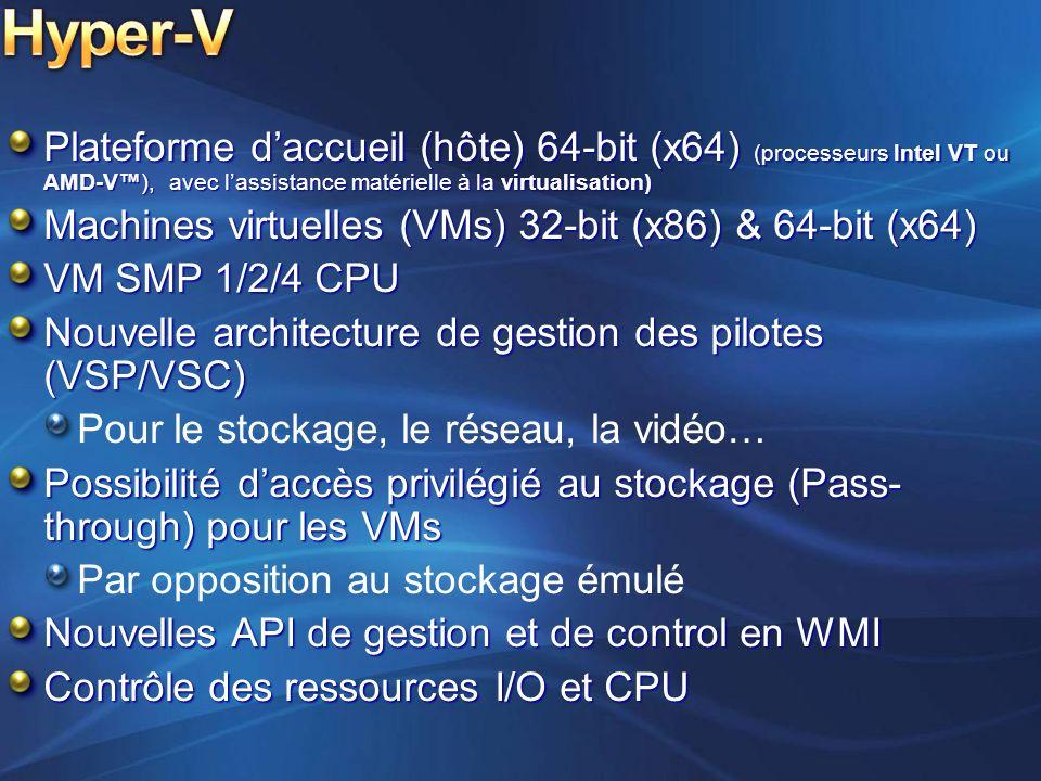 Plateforme daccueil (hôte) 64-bit (x64) (processeurs Intel VT ou AMD-V), avec lassistance matérielle à la virtualisation) Machines virtuelles (VMs) 32