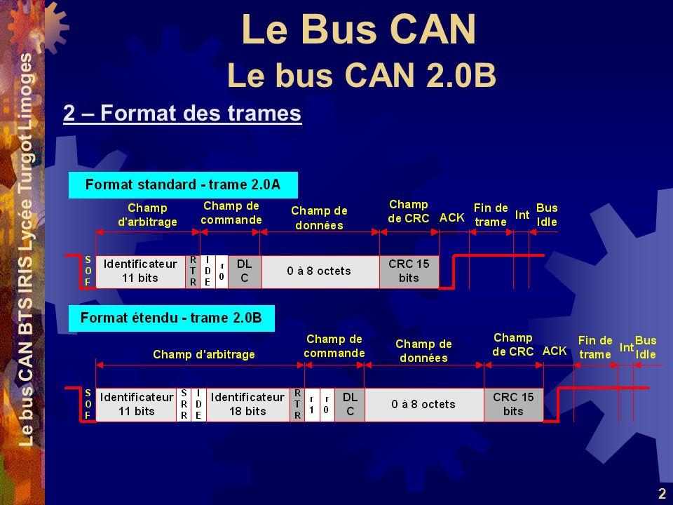 Le Bus CAN Le bus CAN BTS IRIS Lycée Turgot Limoges 2 2 – Format des trames Le bus CAN 2.0B