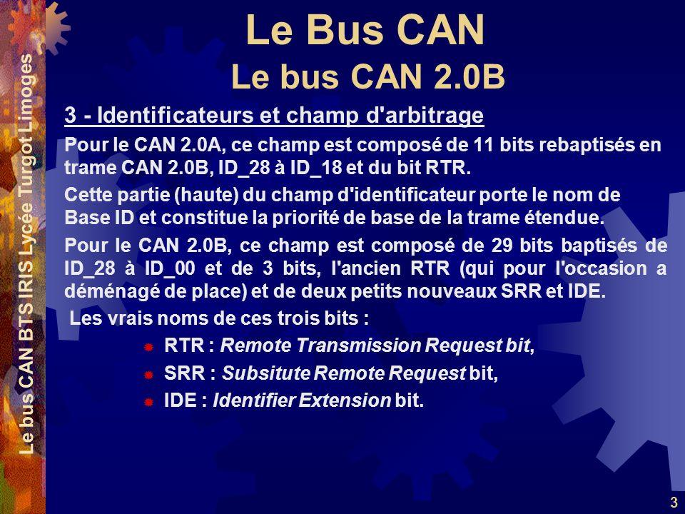 Le Bus CAN Le bus CAN BTS IRIS Lycée Turgot Limoges 3 3 - Identificateurs et champ d'arbitrage Pour le CAN 2.0A, ce champ est composé de 11 bits rebap