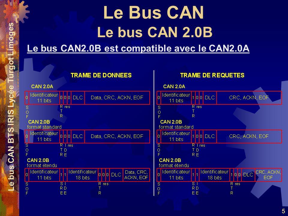 Le Bus CAN Le bus CAN BTS IRIS Lycée Turgot Limoges 5 Le bus CAN2.0B est compatible avec le CAN2.0A Le bus CAN 2.0B
