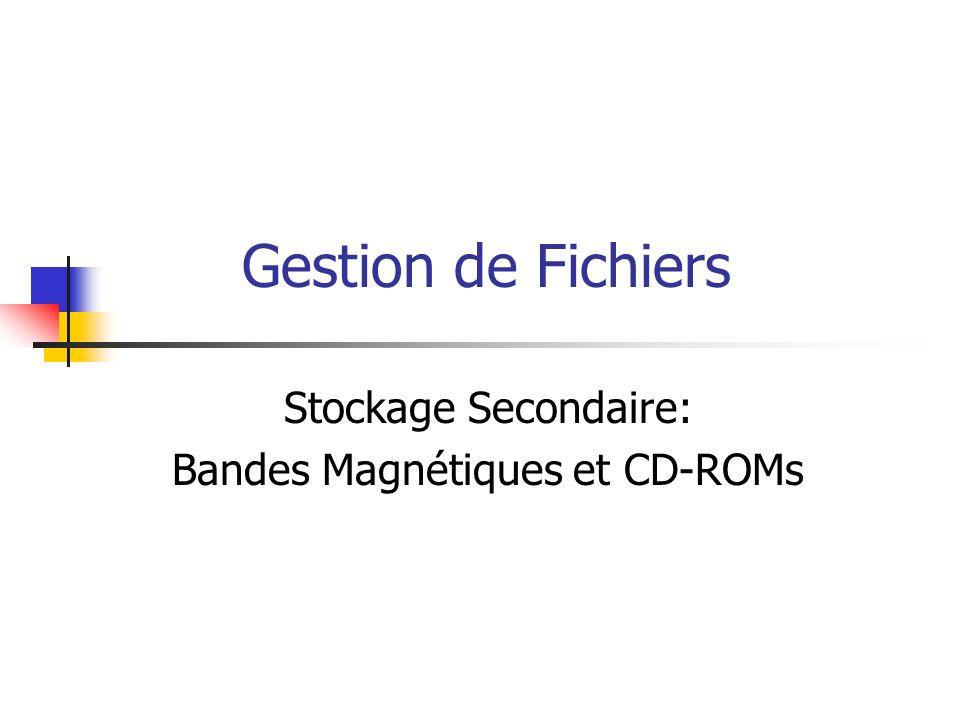 Gestion de Fichiers Stockage Secondaire: Bandes Magnétiques et CD-ROMs