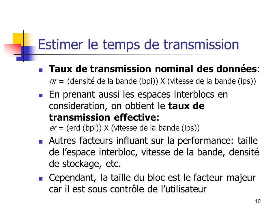 10 Estimer le temps de transmission Taux de transmission nominal des données: nr = (densité de la bande (bpi)) X (vitesse de la bande (ips)) En prenant aussi les espaces interblocs en consideration, on obtient le taux de transmission effective: er = (erd (bpi)) X (vitesse de la bande (ips)) Autres facteurs influant sur la performance: taille de lespace interbloc, vitesse de la bande, densité de stockage, etc.