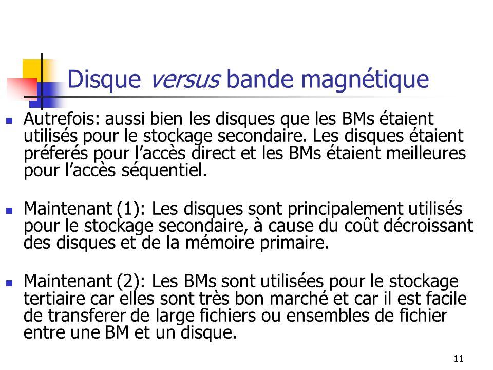11 Disque versus bande magnétique Autrefois: aussi bien les disques que les BMs étaient utilisés pour le stockage secondaire.