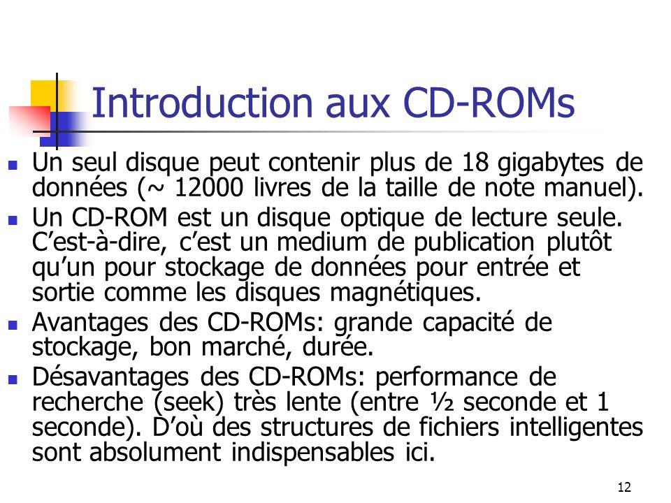 12 Introduction aux CD-ROMs Un seul disque peut contenir plus de 18 gigabytes de données (~ 12000 livres de la taille de note manuel). Un CD-ROM est u
