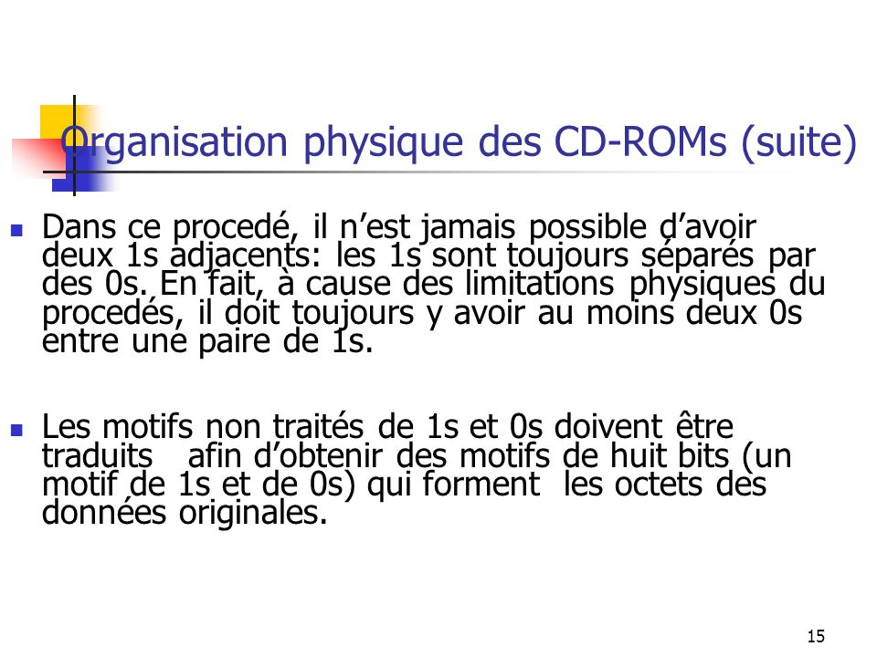 15 Organisation physique des CD-ROMs (suite) Dans ce procedé, il nest jamais possible davoir deux 1s adjacents: les 1s sont toujours séparés par des 0s.