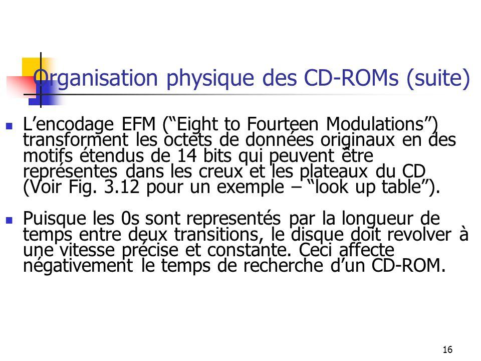 16 Organisation physique des CD-ROMs (suite) Lencodage EFM (Eight to Fourteen Modulations) transforment les octets de données originaux en des motifs étendus de 14 bits qui peuvent être représentes dans les creux et les plateaux du CD (Voir Fig.