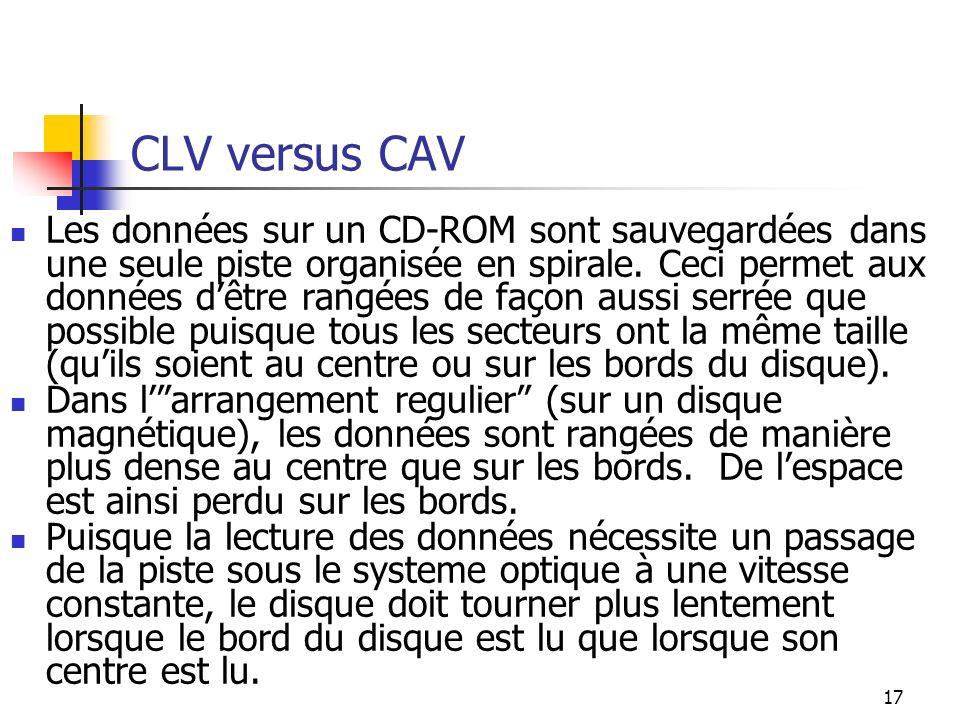 17 CLV versus CAV Les données sur un CD-ROM sont sauvegardées dans une seule piste organisée en spirale. Ceci permet aux données dêtre rangées de faço