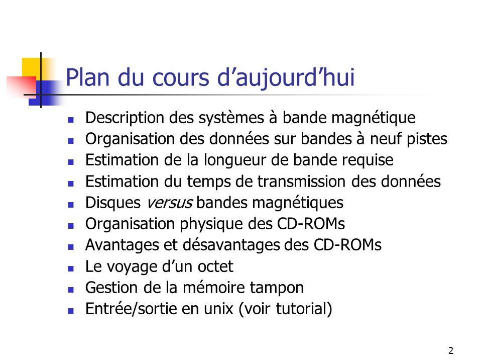 2 Plan du cours daujourdhui Description des systèmes à bande magnétique Organisation des données sur bandes à neuf pistes Estimation de la longueur de