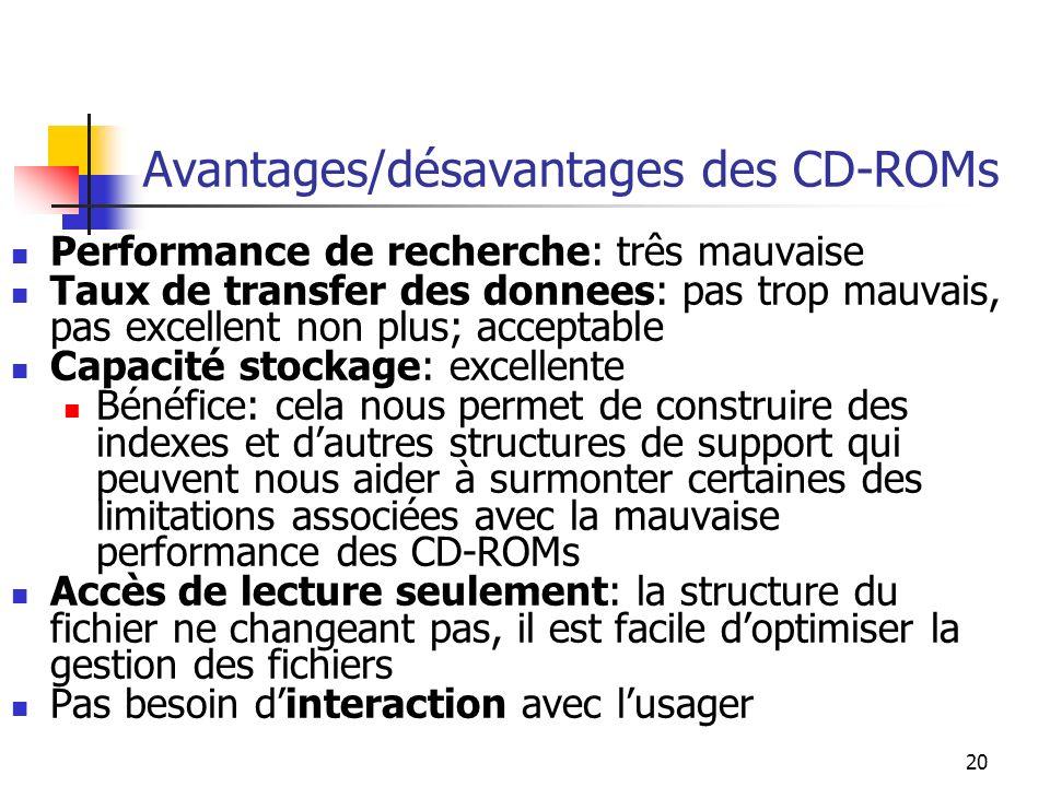 20 Avantages/désavantages des CD-ROMs Performance de recherche: três mauvaise Taux de transfer des donnees: pas trop mauvais, pas excellent non plus;