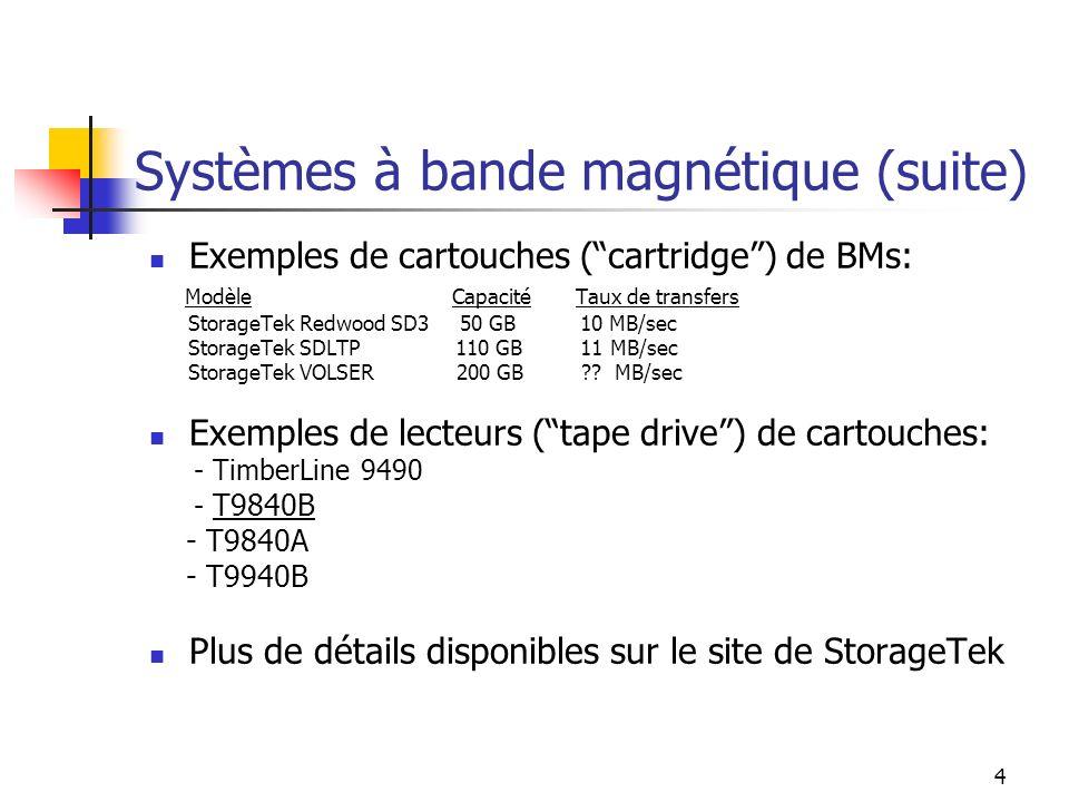 4 Systèmes à bande magnétique (suite) Exemples de cartouches (cartridge) de BMs: Modèle Capacité Taux de transfers StorageTek Redwood SD3 50 GB 10 MB/sec StorageTek SDLTP 110 GB 11 MB/sec StorageTek VOLSER 200 GB ?.