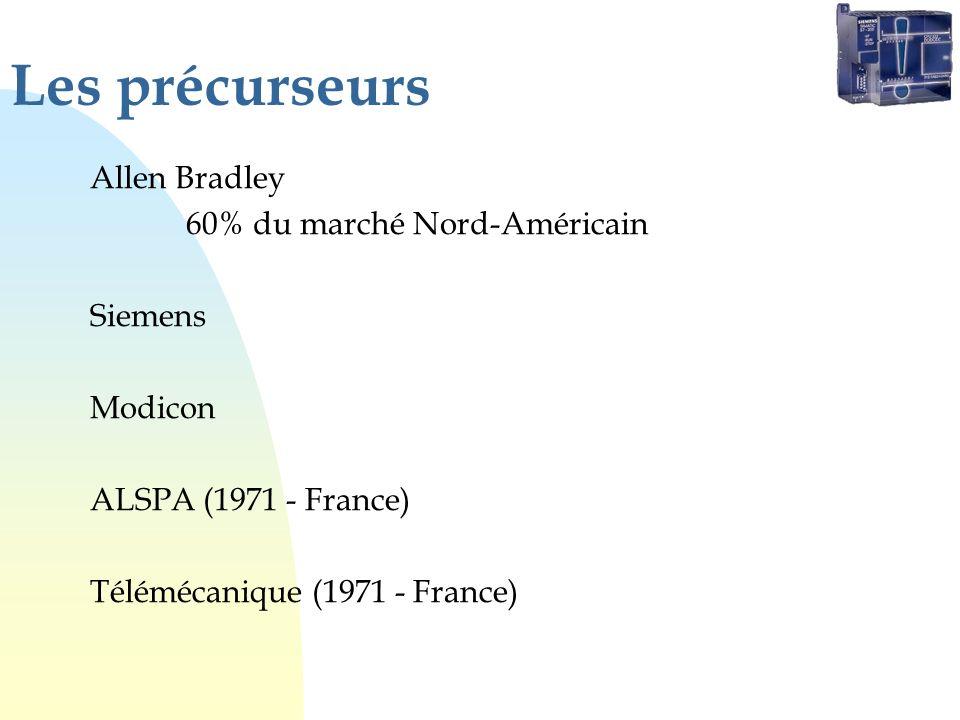 Les précurseurs Allen Bradley 60% du marché Nord-Américain Siemens Modicon ALSPA (1971 - France) Télémécanique (1971 - France)