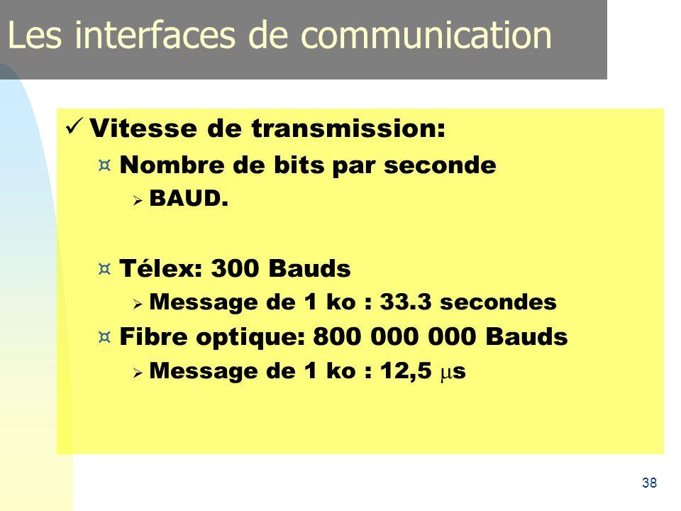 38 Vitesse de transmission: ¤ Nombre de bits par seconde BAUD. ¤ Télex: 300 Bauds Message de 1 ko : 33.3 secondes ¤ Fibre optique: 800 000 000 Bauds M