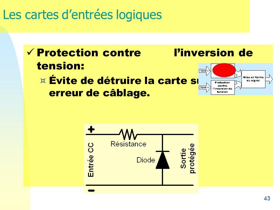 43 Les cartes dentrées logiques Protection contre linversion de tension: ¤ Évite de détruire la carte suite à une erreur de câblage.