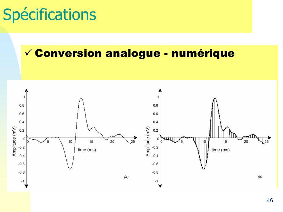 46 Spécifications Conversion analogue - numérique