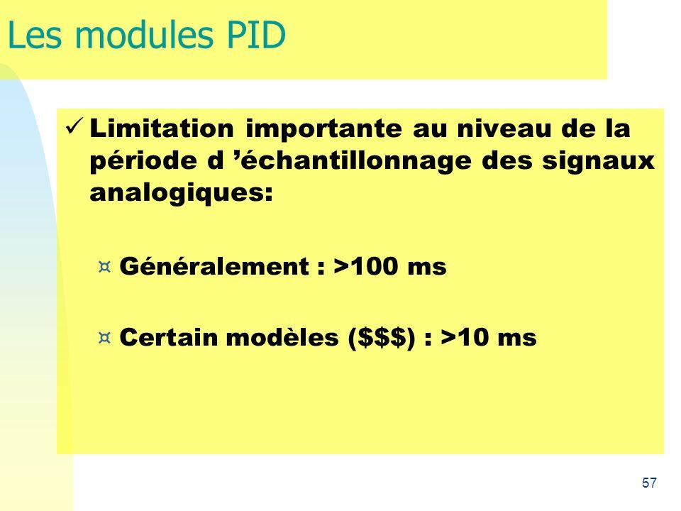 57 Les modules PID Limitation importante au niveau de la période d échantillonnage des signaux analogiques: ¤ Généralement : >100 ms ¤ Certain modèles