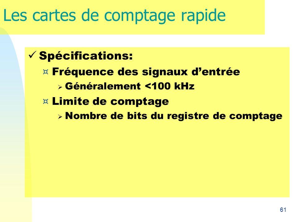 61 Les cartes de comptage rapide Spécifications: ¤ Fréquence des signaux dentrée Généralement <100 kHz ¤ Limite de comptage Nombre de bits du registre