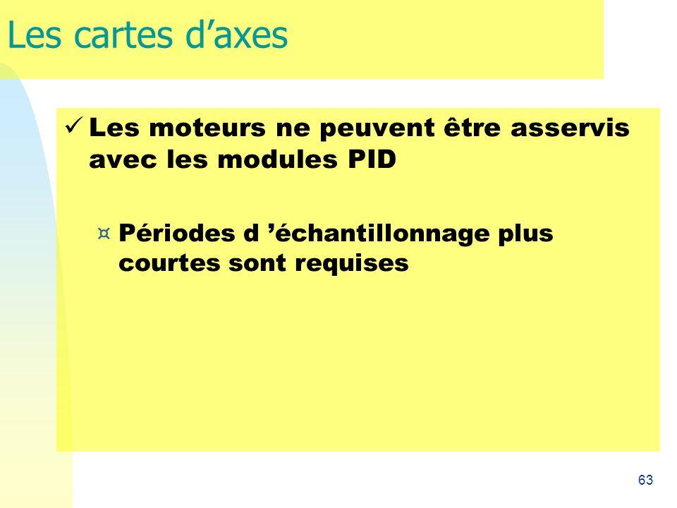 63 Les cartes daxes Les moteurs ne peuvent être asservis avec les modules PID ¤ Périodes d échantillonnage plus courtes sont requises