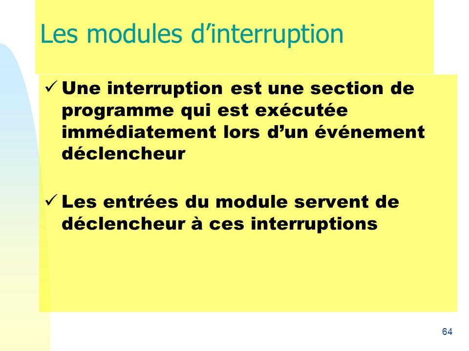 64 Les modules dinterruption Une interruption est une section de programme qui est exécutée immédiatement lors dun événement déclencheur Les entrées d