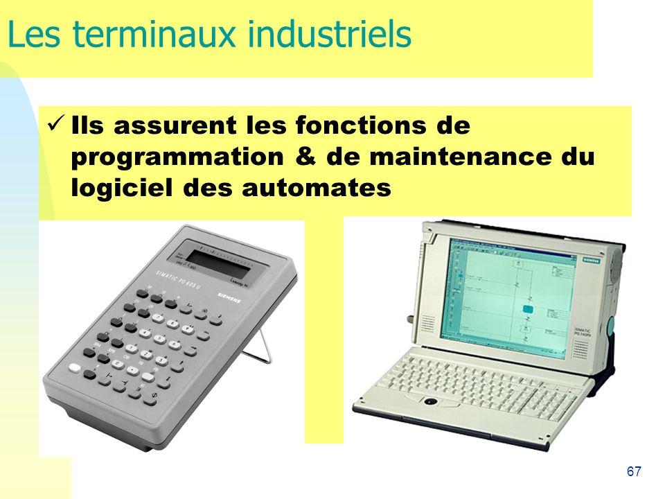 67 Les terminaux industriels Ils assurent les fonctions de programmation & de maintenance du logiciel des automates