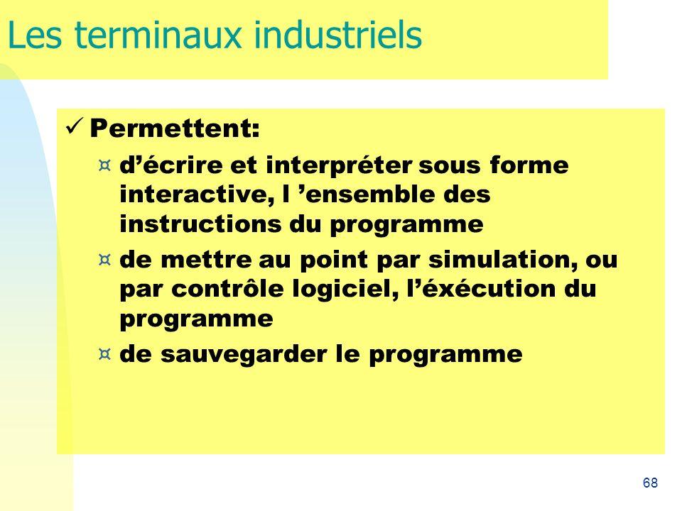 68 Les terminaux industriels Permettent: ¤ décrire et interpréter sous forme interactive, l ensemble des instructions du programme ¤ de mettre au poin