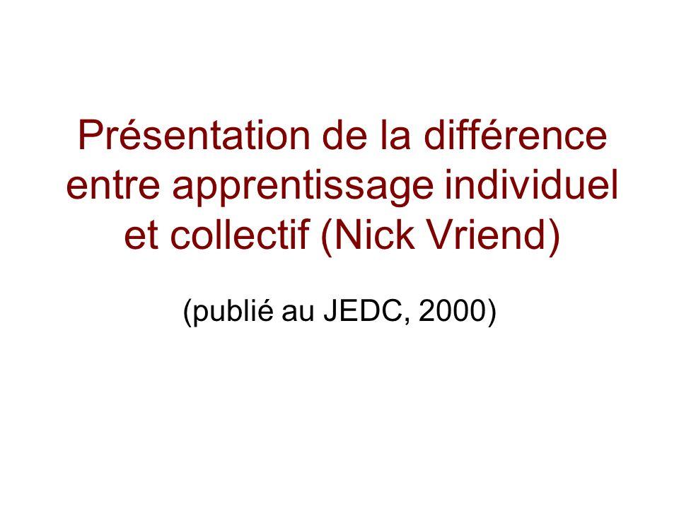 Présentation de la différence entre apprentissage individuel et collectif (Nick Vriend) (publié au JEDC, 2000)