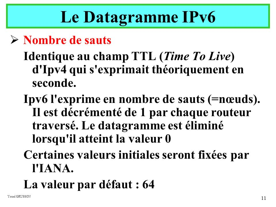 Yonel GRUSSON 11 Nombre de sauts Identique au champ TTL (Time To Live) d'Ipv4 qui s'exprimait théoriquement en seconde. Ipv6 l'exprime en nombre de sa