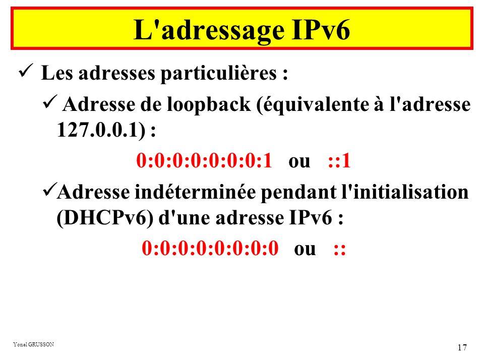 Yonel GRUSSON 17 Les adresses particulières : Adresse de loopback (équivalente à l'adresse 127.0.0.1) : 0:0:0:0:0:0:0:1 ou ::1 Adresse indéterminée pe