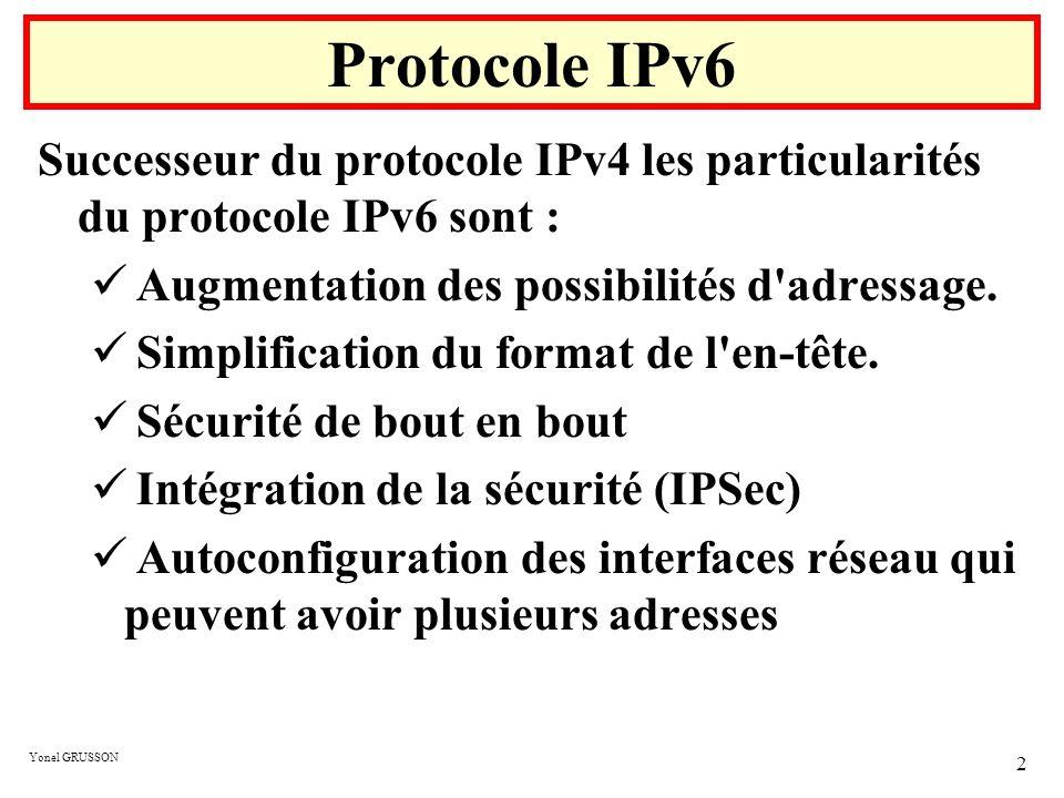 Yonel GRUSSON 2 Protocole IPv6 Successeur du protocole IPv4 les particularités du protocole IPv6 sont : Augmentation des possibilités d'adressage. Sim