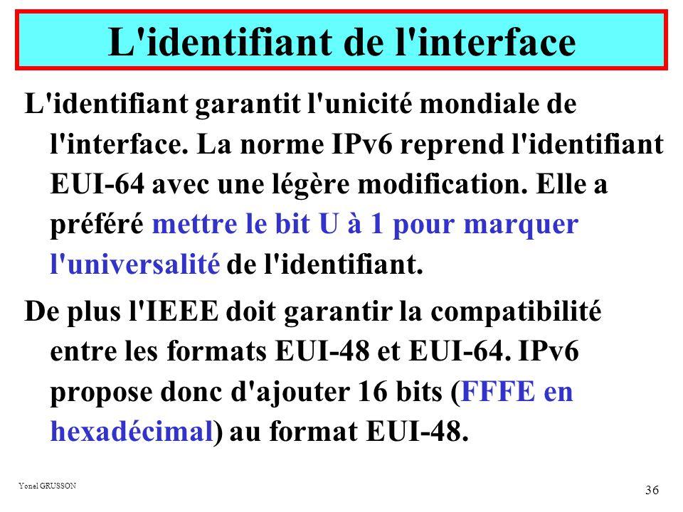 Yonel GRUSSON 36 L'identifiant garantit l'unicité mondiale de l'interface. La norme IPv6 reprend l'identifiant EUI-64 avec une légère modification. El