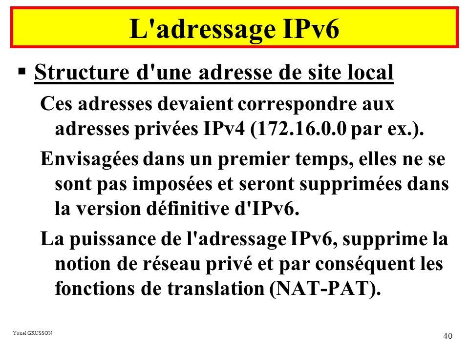 Yonel GRUSSON 40 Structure d'une adresse de site local Ces adresses devaient correspondre aux adresses privées IPv4 (172.16.0.0 par ex.). Envisagées d