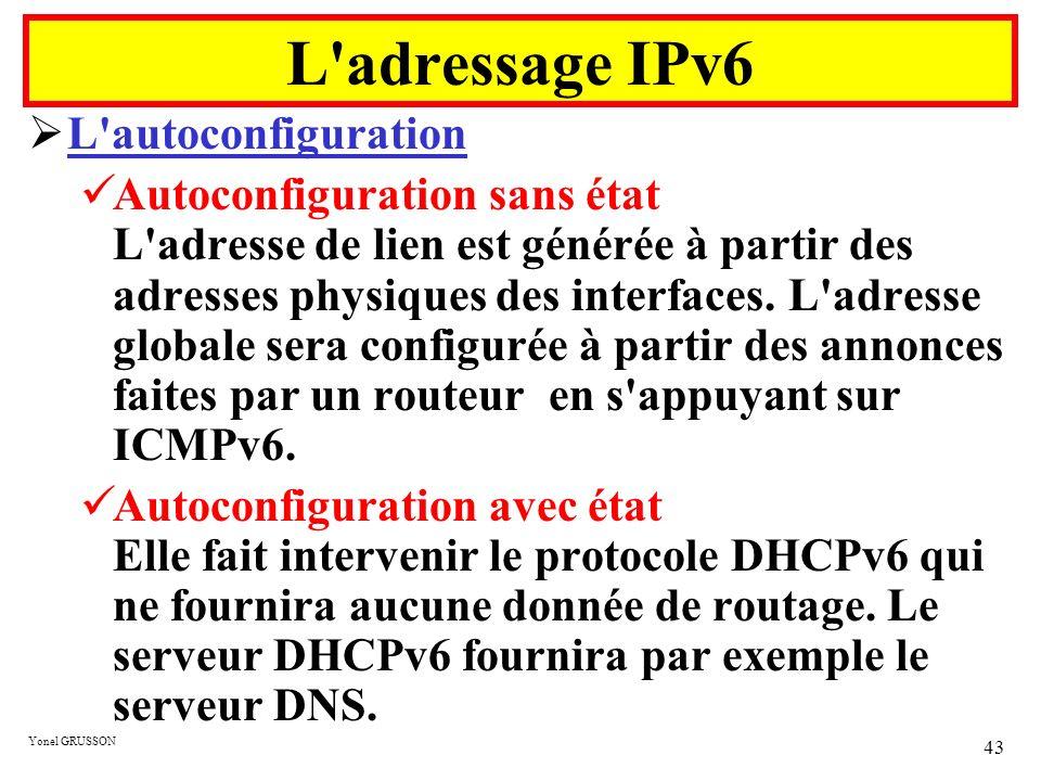 Yonel GRUSSON 43 L'autoconfiguration Autoconfiguration sans état L'adresse de lien est générée à partir des adresses physiques des interfaces. L'adres