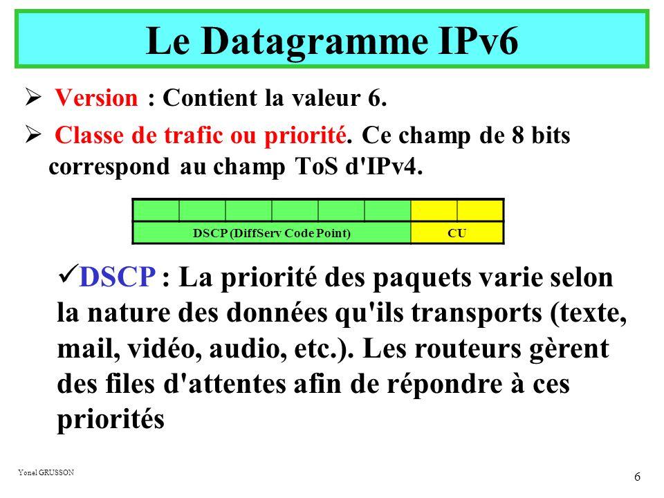 Yonel GRUSSON 6 Version : Contient la valeur 6. Classe de trafic ou priorité. Ce champ de 8 bits correspond au champ ToS d'IPv4. Le Datagramme IPv6 DS