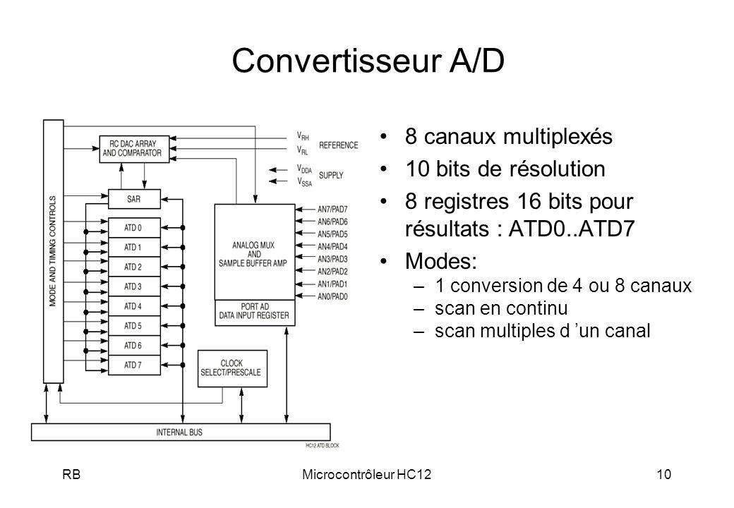 RBMicrocontrôleur HC1210 Convertisseur A/D 8 canaux multiplexés 10 bits de résolution 8 registres 16 bits pour résultats : ATD0..ATD7 Modes: –1 conversion de 4 ou 8 canaux –scan en continu –scan multiples d un canal