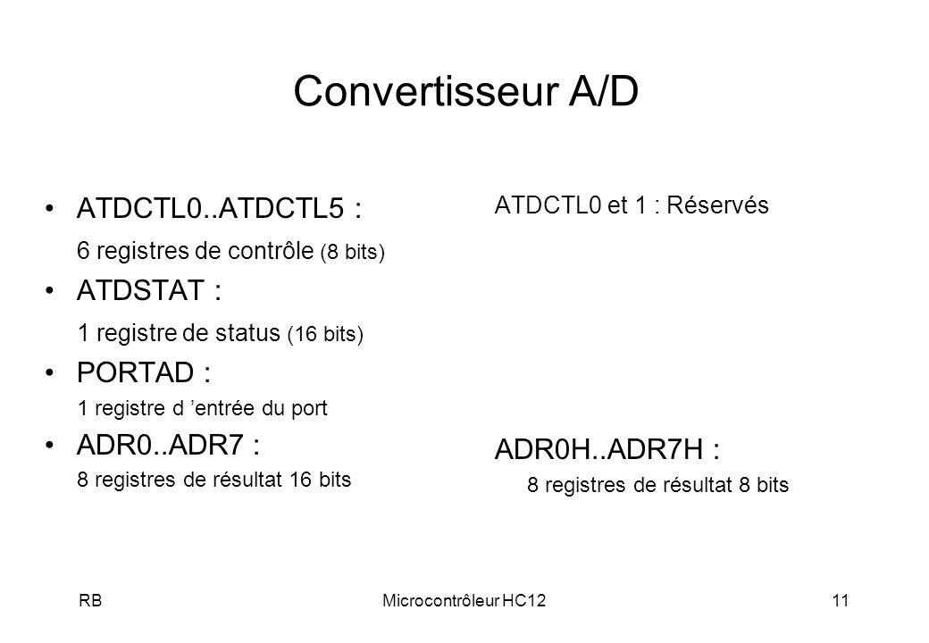 RBMicrocontrôleur HC1211 Convertisseur A/D ATDCTL0 et 1 : Réservés ADR0H..ADR7H : 8 registres de résultat 8 bits ATDCTL0..ATDCTL5 : 6 registres de contrôle (8 bits) ATDSTAT : 1 registre de status (16 bits) PORTAD : 1 registre d entrée du port ADR0..ADR7 : 8 registres de résultat 16 bits