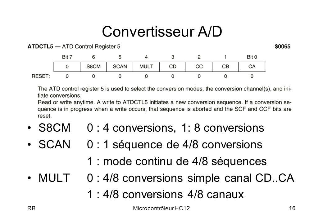 RBMicrocontrôleur HC1216 Convertisseur A/D S8CM0 : 4 conversions, 1: 8 conversions SCAN0 : 1 séquence de 4/8 conversions 1 : mode continu de 4/8 séquences MULT0 : 4/8 conversions simple canal CD..CA 1 : 4/8 conversions 4/8 canaux