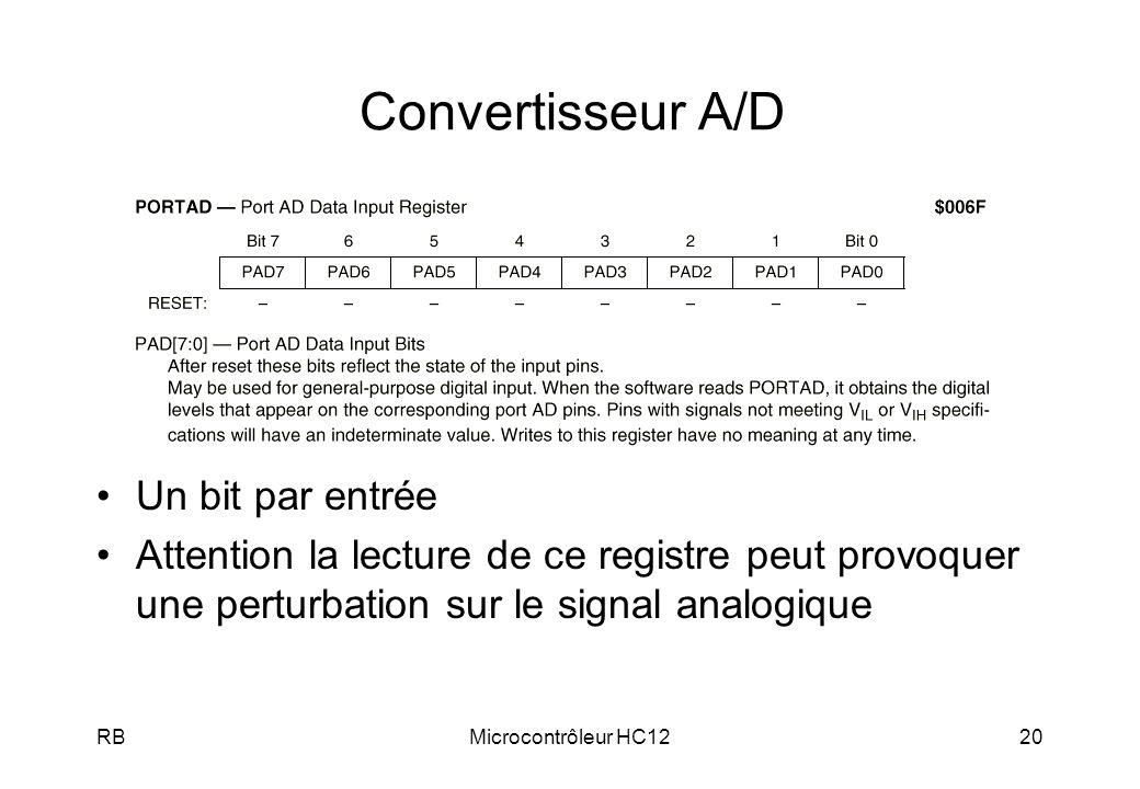 RBMicrocontrôleur HC1220 Convertisseur A/D Un bit par entrée Attention la lecture de ce registre peut provoquer une perturbation sur le signal analogi