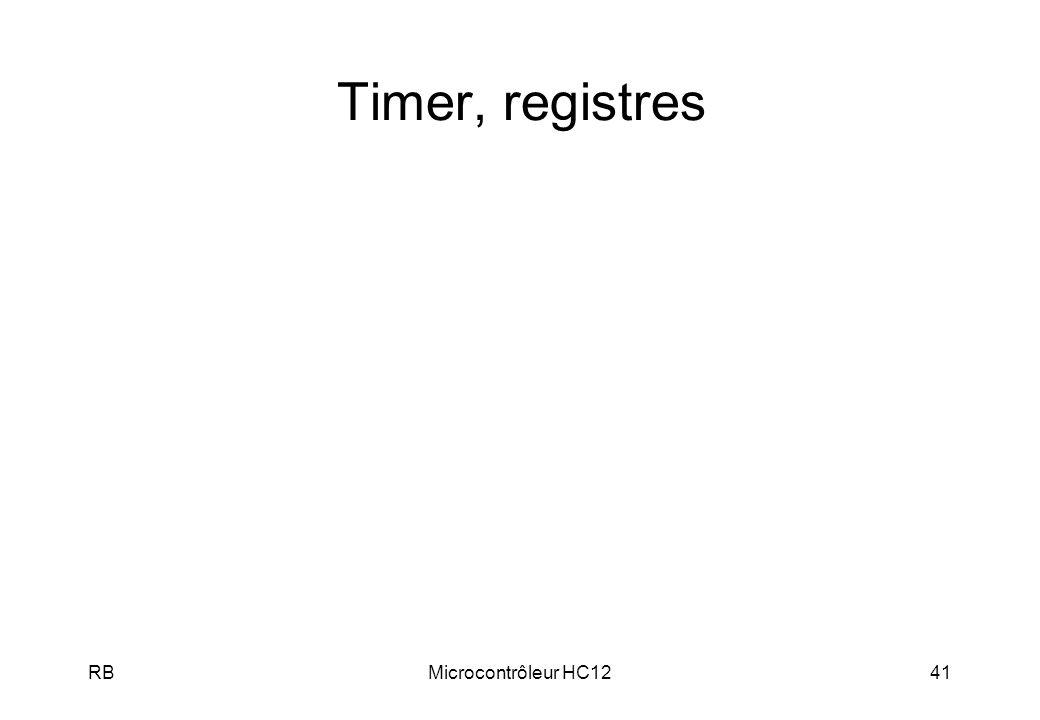 RBMicrocontrôleur HC1241 Timer, registres
