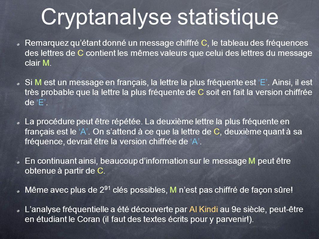Cryptanalyse statistique Remarquez quétant donné un message chiffré C, le tableau des fréquences des lettres de C contient les mêmes valeurs que celui
