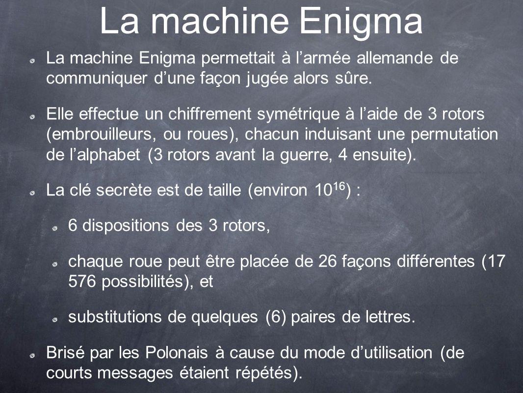 La machine Enigma La machine Enigma permettait à larmée allemande de communiquer dune façon jugée alors sûre. Elle effectue un chiffrement symétrique