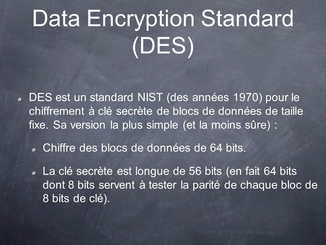 Data Encryption Standard (DES) DES est un standard NIST (des années 1970) pour le chiffrement à clé secrète de blocs de données de taille fixe. Sa ver