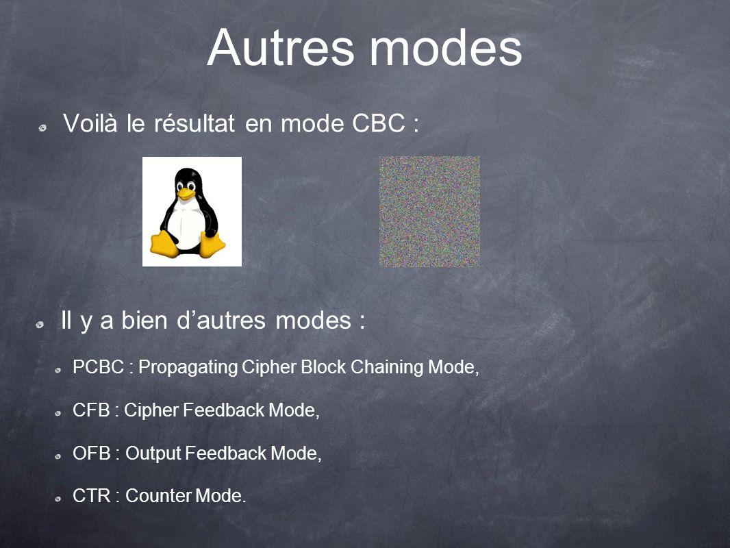 Autres modes Voilà le résultat en mode CBC : Il y a bien dautres modes : PCBC : Propagating Cipher Block Chaining Mode, CFB : Cipher Feedback Mode, OF