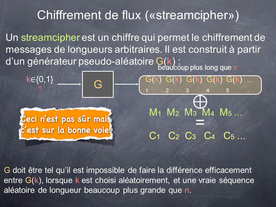Chiffrement de flux («streamcipher») Un streamcipher est un chiffre qui permet le chiffrement de messages de longueurs arbitraires. Il est construit à